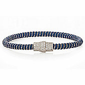Jewel and Gem Navy leather magnetic bracelet with sterling silver pave clasp