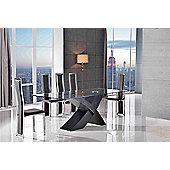 Valencia Glass & Black Oak 160 cm Dining Table & 6 Elsa Brown Chairs