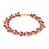 QP Jewellers 8in 16.50ct Ruby Butterfly Bracelet in 14K Gold