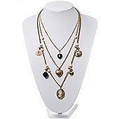 Gold Multistrand Cameo Necklace - 64cm Length