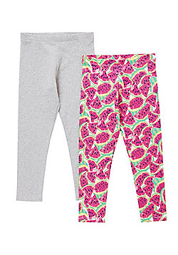 F&F 2 Pack of Plain and Watermelon Leggings - Grey & Pink