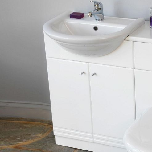 Duchy Trewyn White Floor Standing 2 Door Vanity Unit and Basin - 600mm Wide
