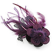 Deep Purple Feather Flower And Butterfly Fabric Hair Clip/ Brooch (Catwalk - 2013)