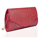 Red Laser Cut Clutch Bag