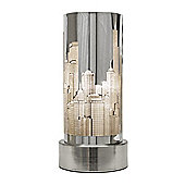 New York Skyline Touch Table Lamp in Chrome
