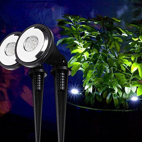 buy set of 2 white led solar garden adjustable spot lights. Black Bedroom Furniture Sets. Home Design Ideas