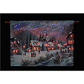 Denis Lewan Twilight in the Village Illuminated Hanging Tapestry