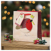 Tesco Robin Christmas Gift Bag, Medium