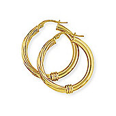 Jewelco London 9ct Yellow Gold - Fancy Hoop with Plain and Twisted Tubes Earrings -