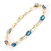 QP Jewellers 6.5in Diamond & Blue Topaz Classic Tennis Bracelet in 14K Gold