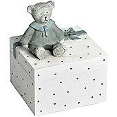 Childrens Teddy Bear Money Box - White / Blue