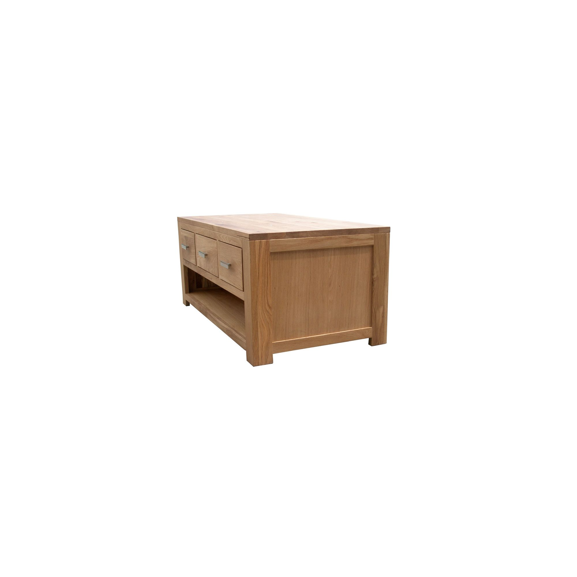 Home Zone Furniture Churchill Oak 2010 Three Drawer Coffee Table in Natural Oak at Tesco Direct
