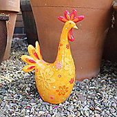 Flower Detailed Resin Chicken Garden Ornament in Bright Coloured Finish - Design A
