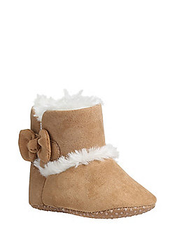 F&F Faux Fur Lined Booties - Brown