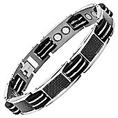 Willis Judd Mens Titanium Magnetic Bracelet with Black Carbon Fibre