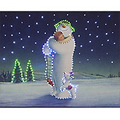 The Snowman & Billy Cuddling 50cm/20in Illuminated Wall Canvas