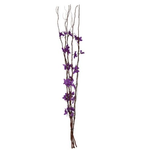 Decorative Brown Twig Lights & Purple Flowers
