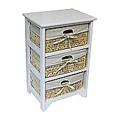 JVL Maize 3 Drawer Wood Cabinet - White
