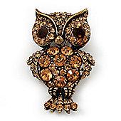 Antique Gold Metal Amber Coloured Crystal Owl Brooch