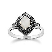 Gemondo 925 Sterling Silver 1.00ct Mother of Pearl & Marcasite Art Deco Ring
