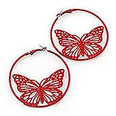 Red Filigree Butterfly Metal Hoop Earrings - 6cm Diameter