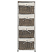 Tesco Grey Wicker Lined 4 Drawer Tower