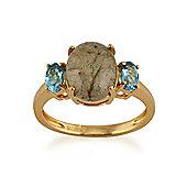 Gemondo Gold Plated Sterling Silver 2.35ct Labradorite & 0.50ct Blue Topaz Three Stone Ring