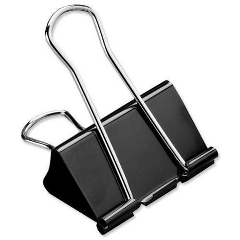 5 Star Office Foldback Clips 19mm Black [Pack 12]