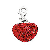Rhodium Coated Sterling Silver Red Crystal Heart Charm