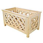 Bentley Garden Rectangular Nordic Spruce Wooden Planter With Lattice Design