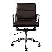 Eames EA217 Inspired Low Back Soft Pad Brown Leather Office Chair