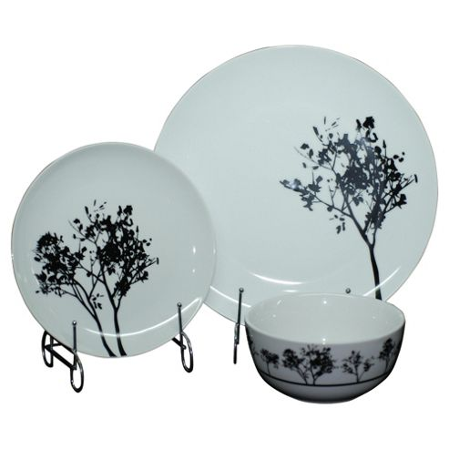 Tesco Shadow Tree 12 Piece, 4 Person Dinner Set, White & Black