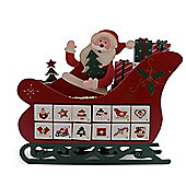 Wooden Father Christmas on a Sleigh Advent Calendar with Festive Draws