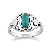 Gemondo Sterling Silver Turquoise Cabochon Leaf Design Ring