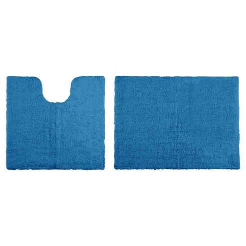 Tesco Reversible Pedestal And Bath Mat Set Denim