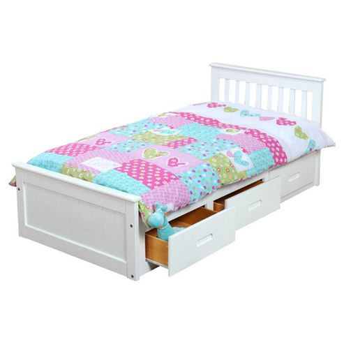 Amani Pine Mission Single Storage Bed Frame - White