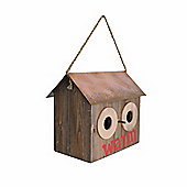 Rustic Finish Wooden Bird House with Metal Roof & Rope Hanger