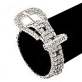 Unique Diamante 'Buckle' Bracelet In Rhodium Plated Metal - up to 19cm length