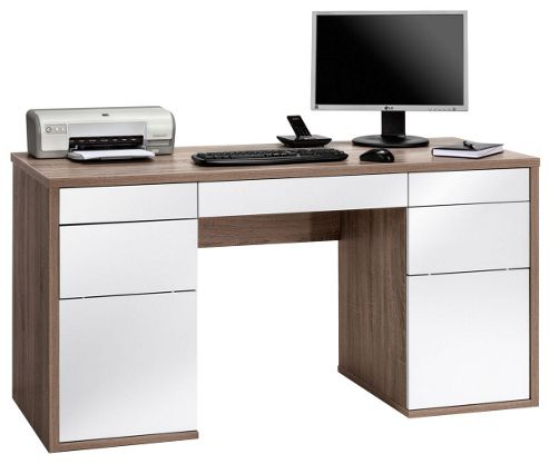 Buy maja salzburg oak and white computer desk from our office desks tables range tesco - Tesco office desk ...
