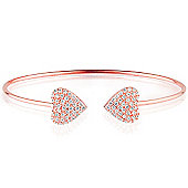 Rose gold plated sterling silver bangle with two pave hearts