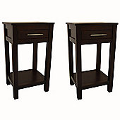 Kyoto - Pair Of Solid Wood Storage Telephone / End Table - Wenge