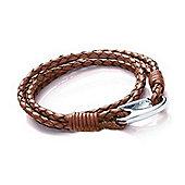 Tribal Steel Double Wrap Brown Leather Bracelet - 18cm
