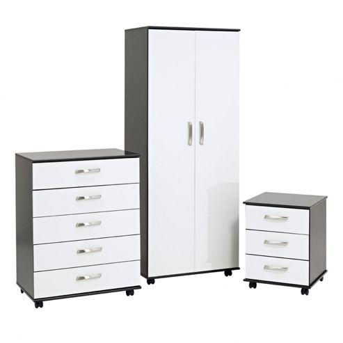 Ideal Furniture Regal Bedroom Collection - Black / White Gloss