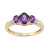 Gemondo Gold Plated Sterling Silver 0.62ct Natural Amethyst & Diamond Three Stone Ring