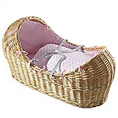 Isabella Alicia Natural Izzy-Pod Moses Basket (Dimple Pink)