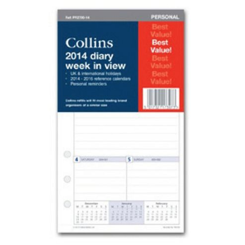 Collins A5 Personal Day To A Page 2014 Organiser Refills