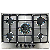 SIA 70cm 5 Burner Stainless Steel Gas Hob + FFD, Wok Burner and Iron Pan Stands