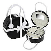 Large Round Jewellery Box / Bag - Black / White