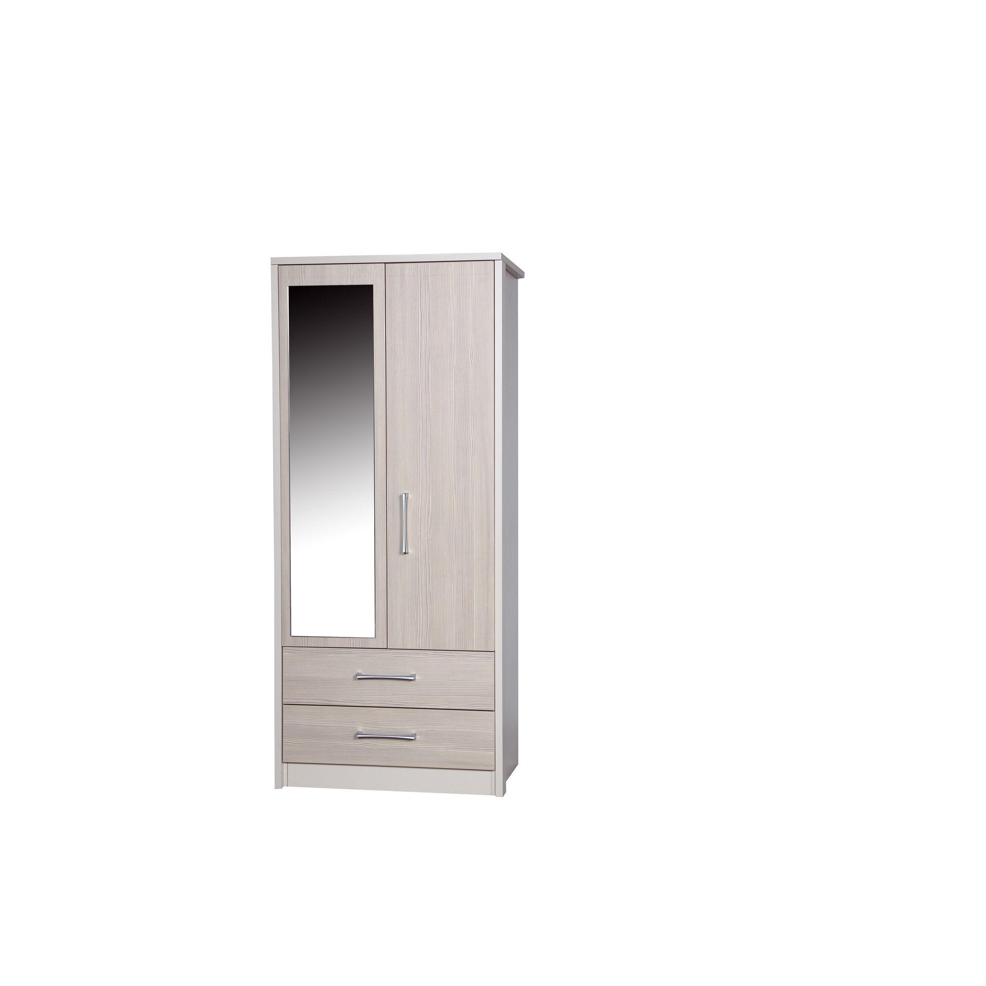 Alto Furniture Avola 2 Drawer Combi Wardrobe with Mirror - Cream Carcass With Grey Avola at Tesco Direct