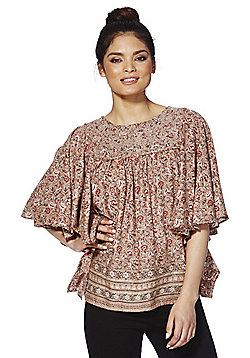 Only Floral Print Embroidered Yoke Flutter Sleeve Top - Pink